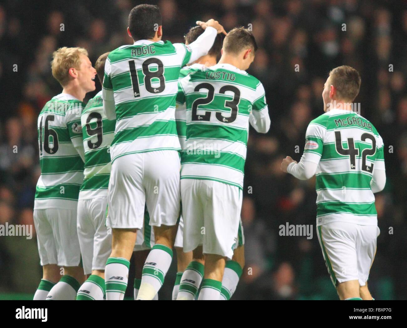 Celtic Park, Glasgow, Scotland. 19th Jan, 2016. Scottish Premier League. Celtic versus Hamilton Academicals. Nir - Stock Image
