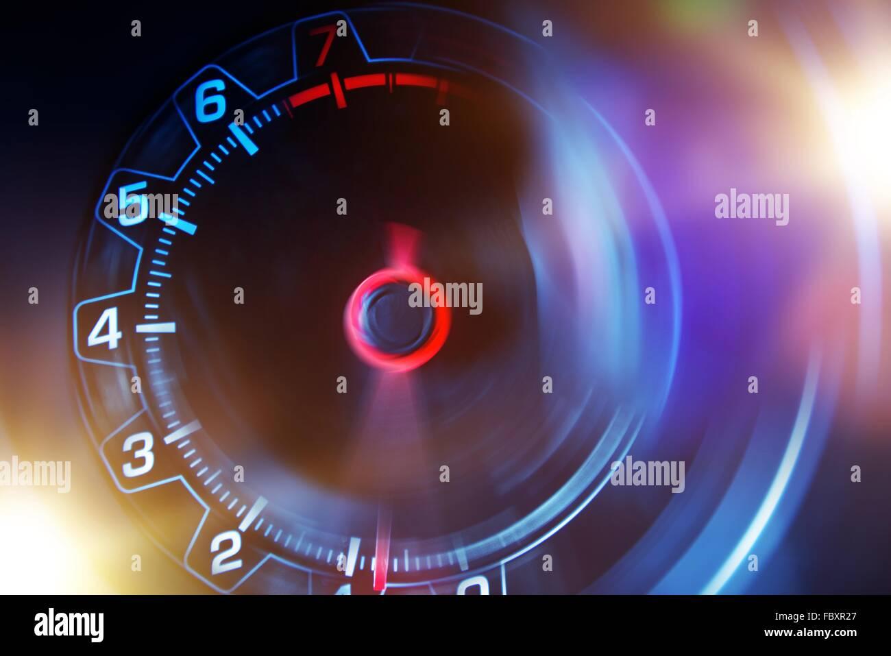 Blurred Revolution Counter Automotive Concept. Car Tachometer Concept. - Stock Image
