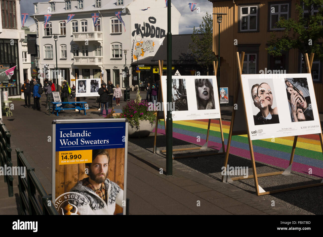 Boards in Reykjavik showing photography of models from the University of the Arts London - Stock Image