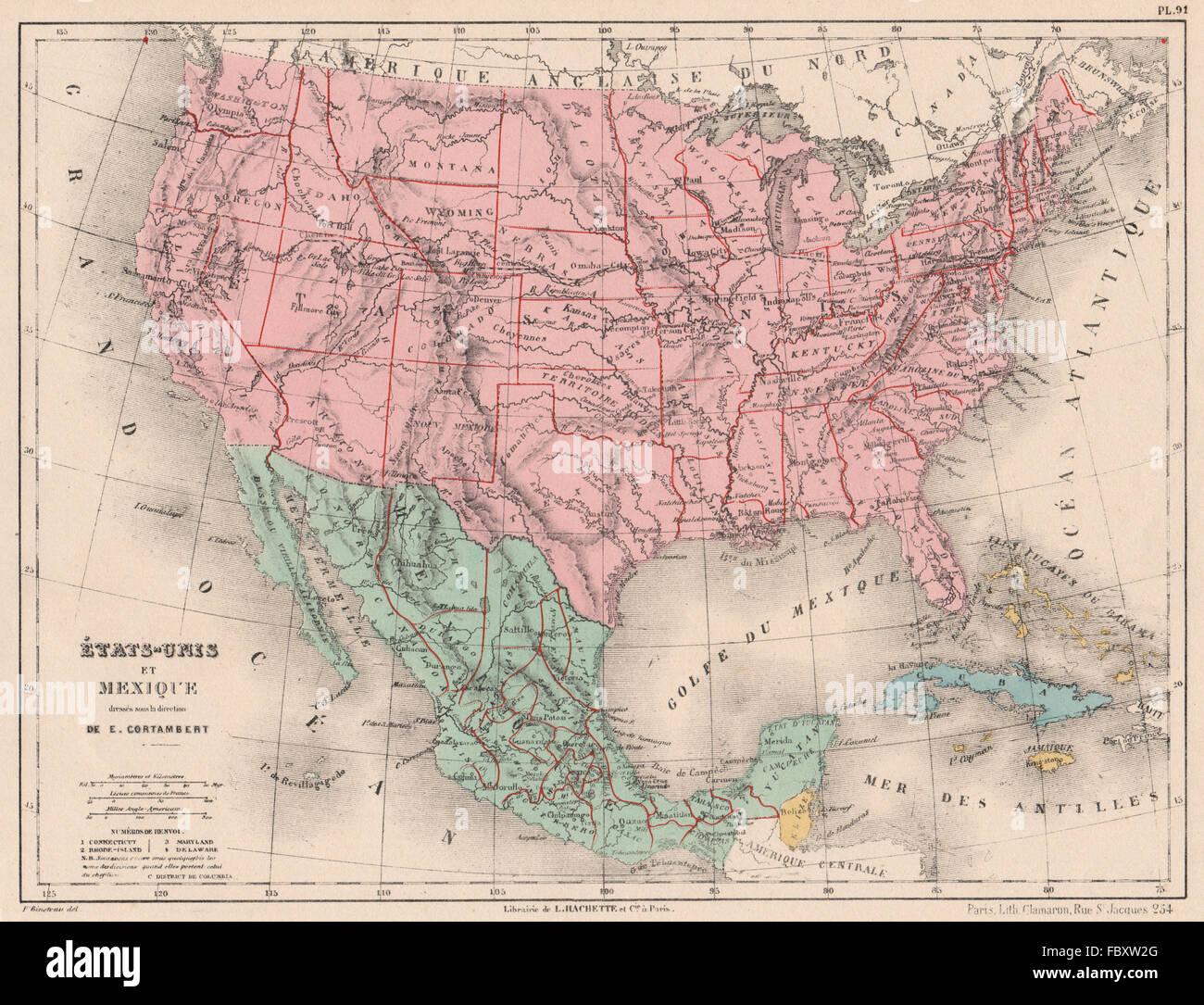 united states map 1880 United States And Mexico Bahamas Cuba North America Cortambert