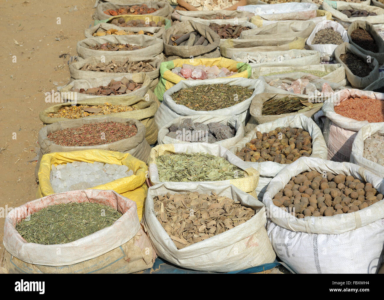 bags with spices on indian market - Stock Image