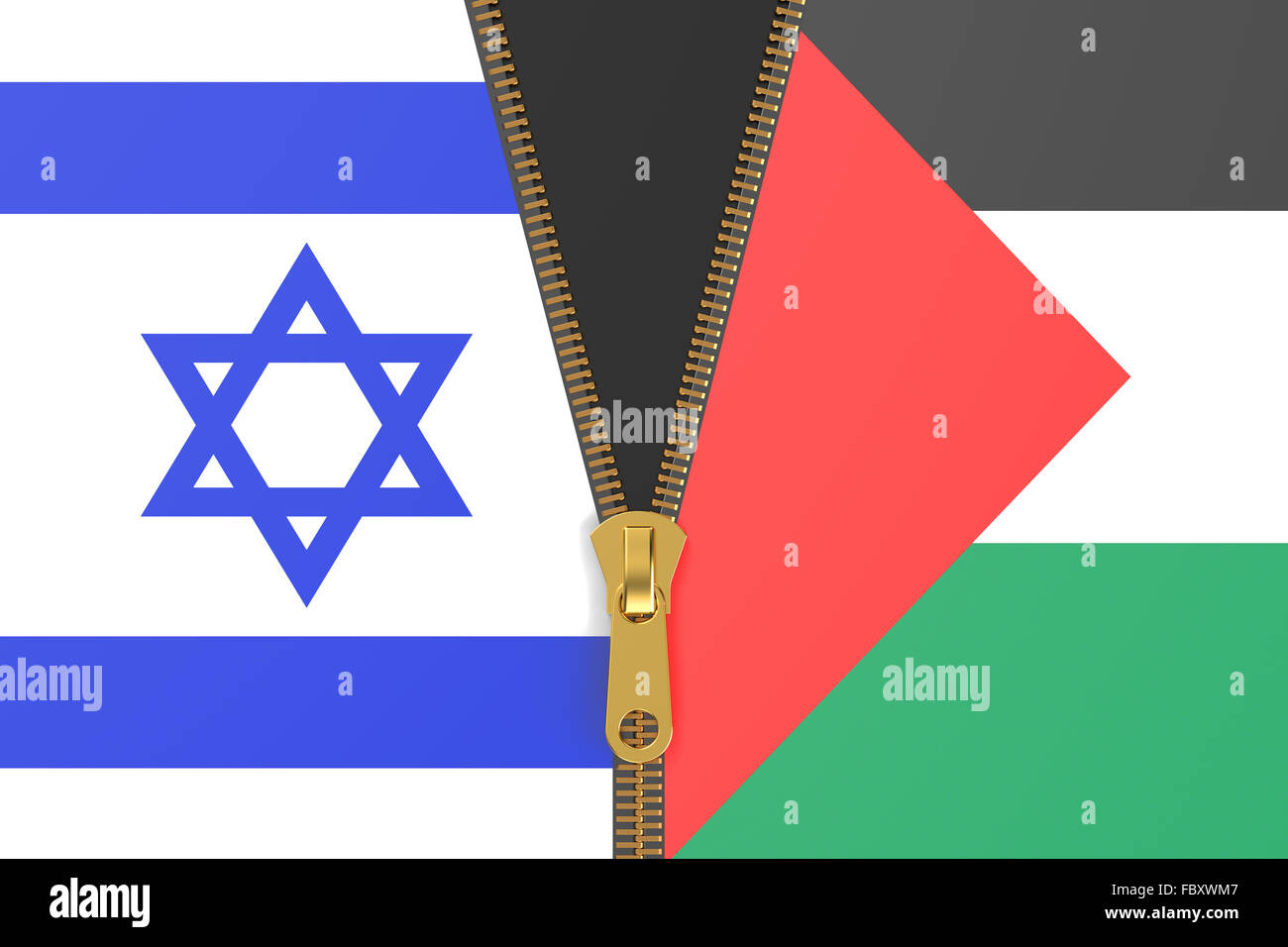 Flags of Israel and Palestine, conflict concept - Stock Image