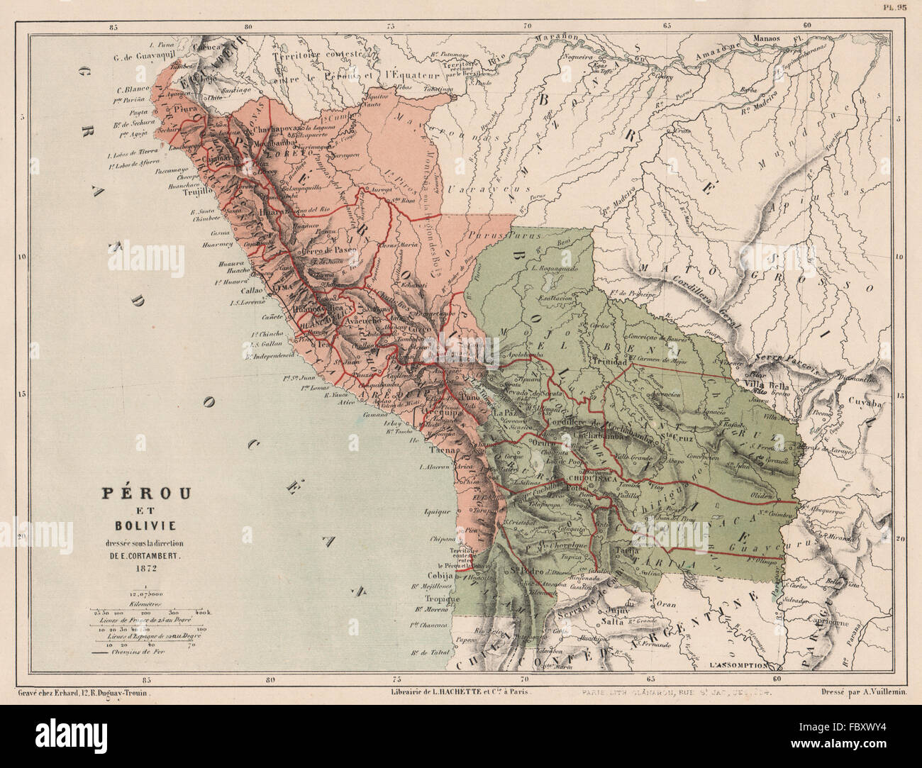 PERU & BOLIVIA with Littoral pre- War of the Pacific. Pérou et Bolivie, 1880 map - Stock Image