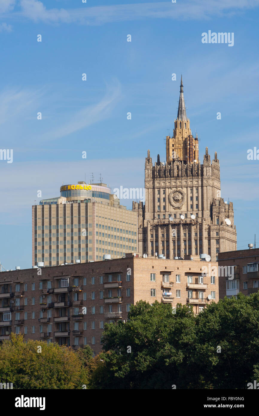 View of the Foreign Ministry, one of Stalin's Seven Sisters, Moscow, Russia Stock Photo
