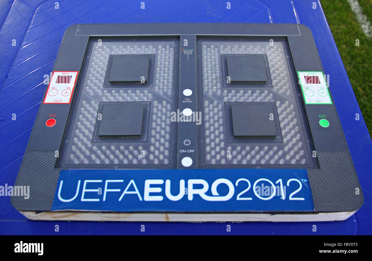 KYIV, UKRAINE - JULY 17, 2011: Football substitutions indicator board (panel) with UEFA EURO 2012 logo - Stock Image
