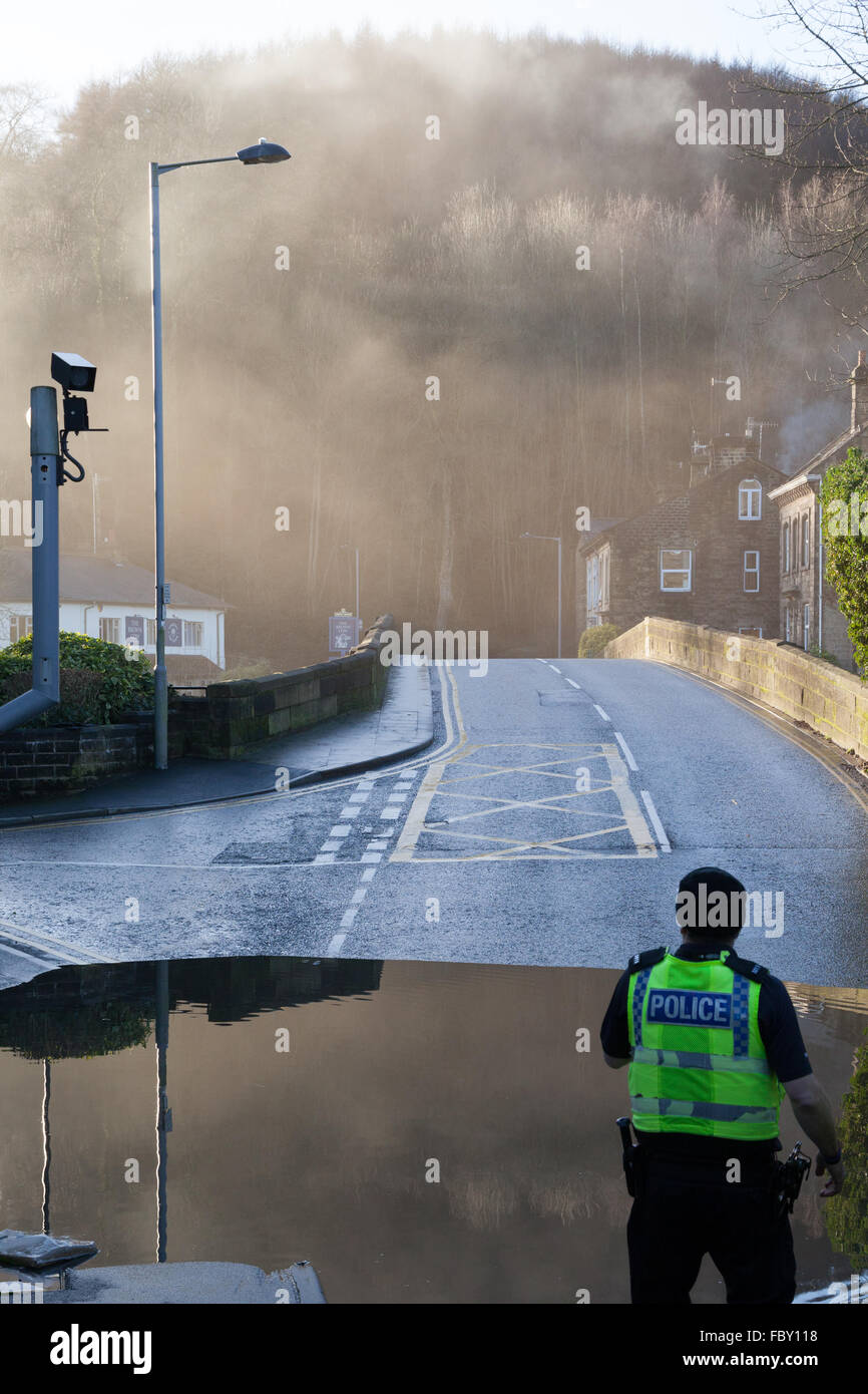 Flooding in Bingley, England, in December 2015. Stock Photo