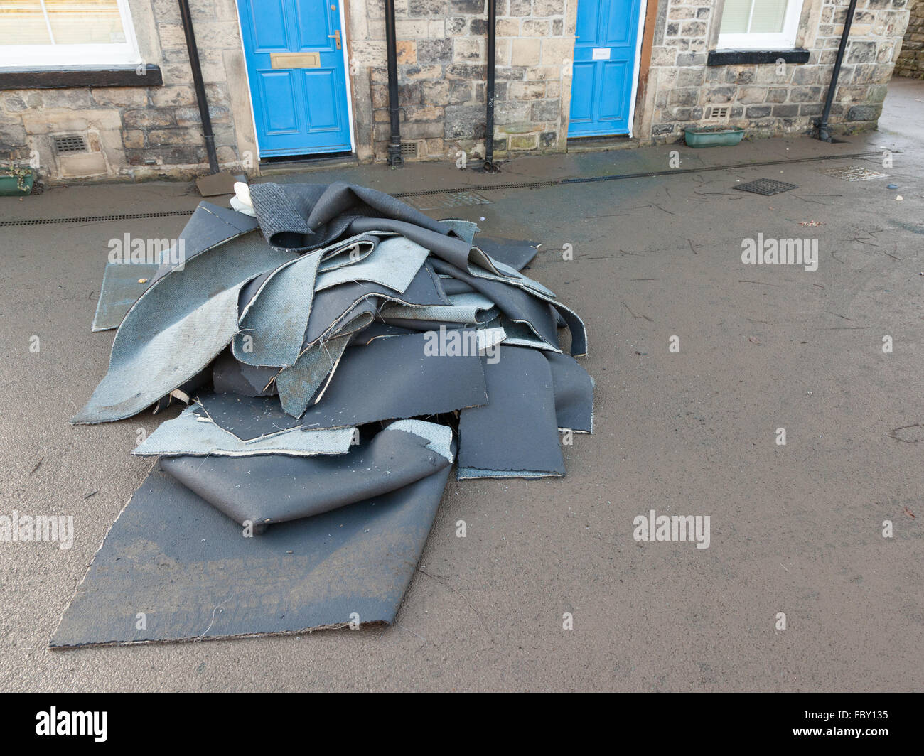 Flood damage in Bingley, England. Stock Photo