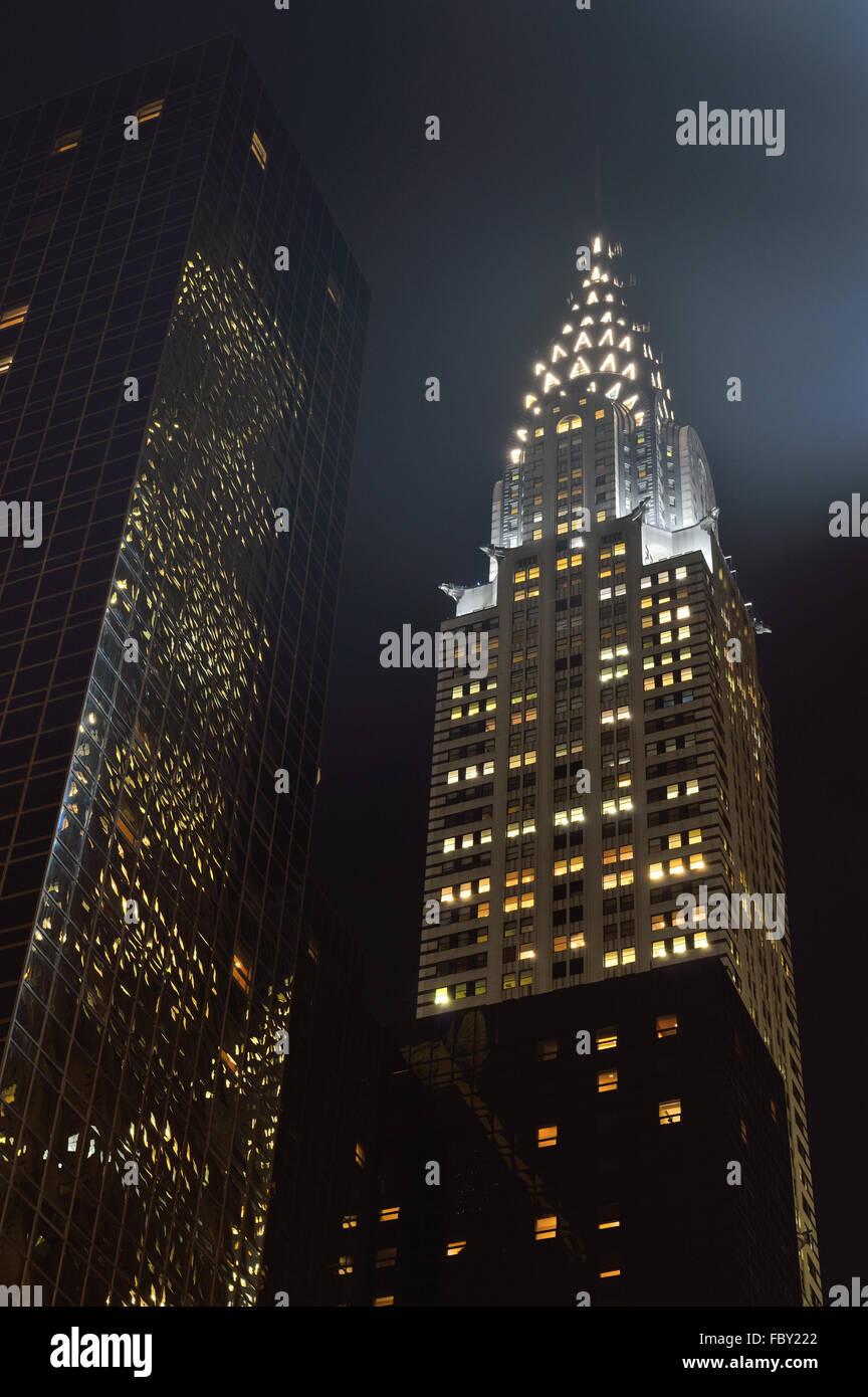 Chrysler Building at night. - Stock Image