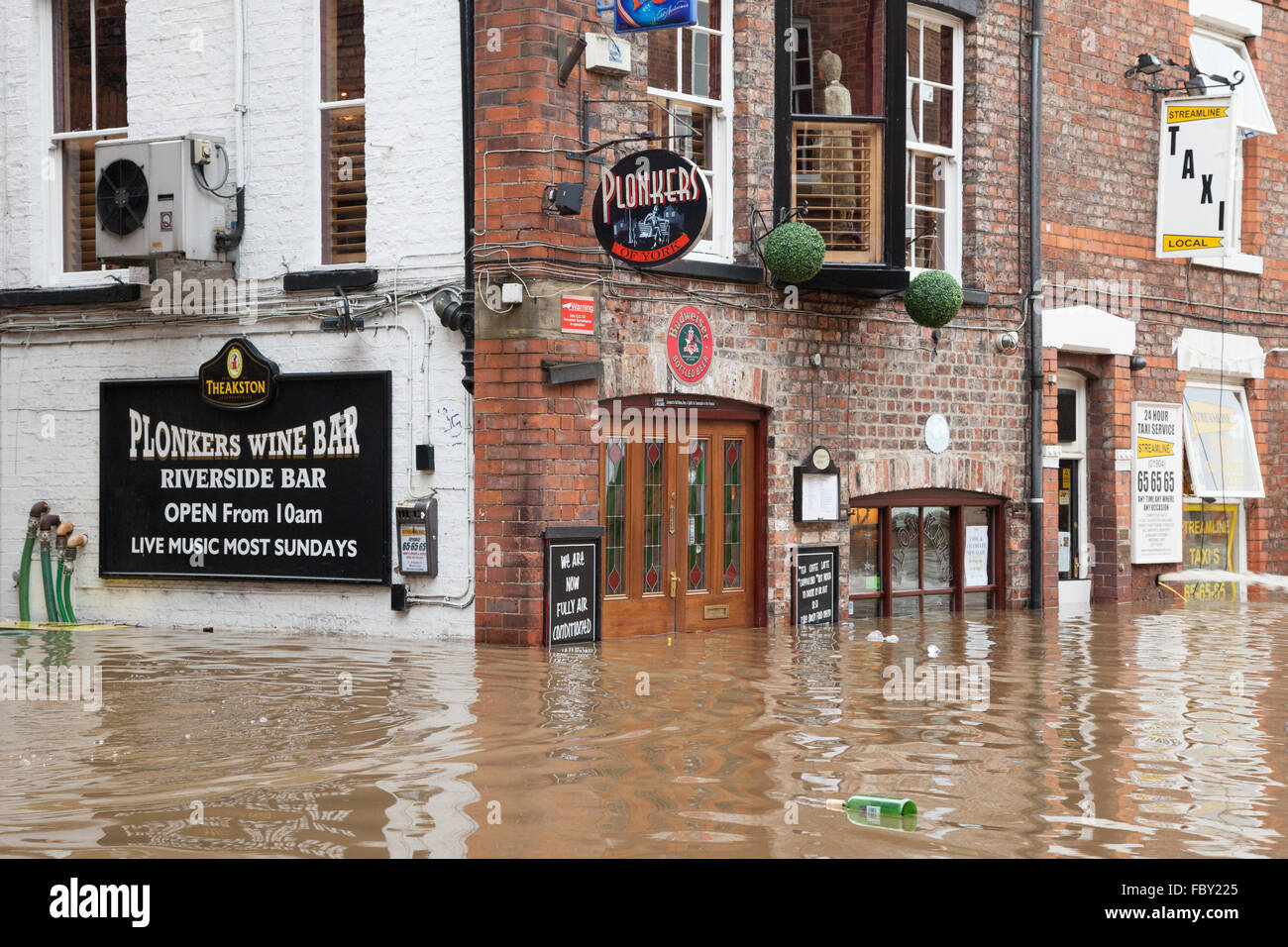 Extreme flooding in the centre of York during a period of adverse weather in December 2015. Stock Photo