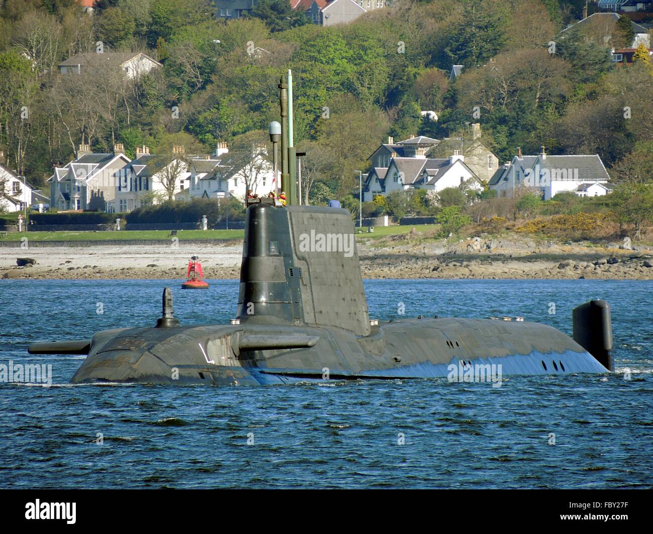 HMS Ambush, the second of seven planned Astute-class submarines for the  Royal Navy, off Gourock on the Firth of Clyde.