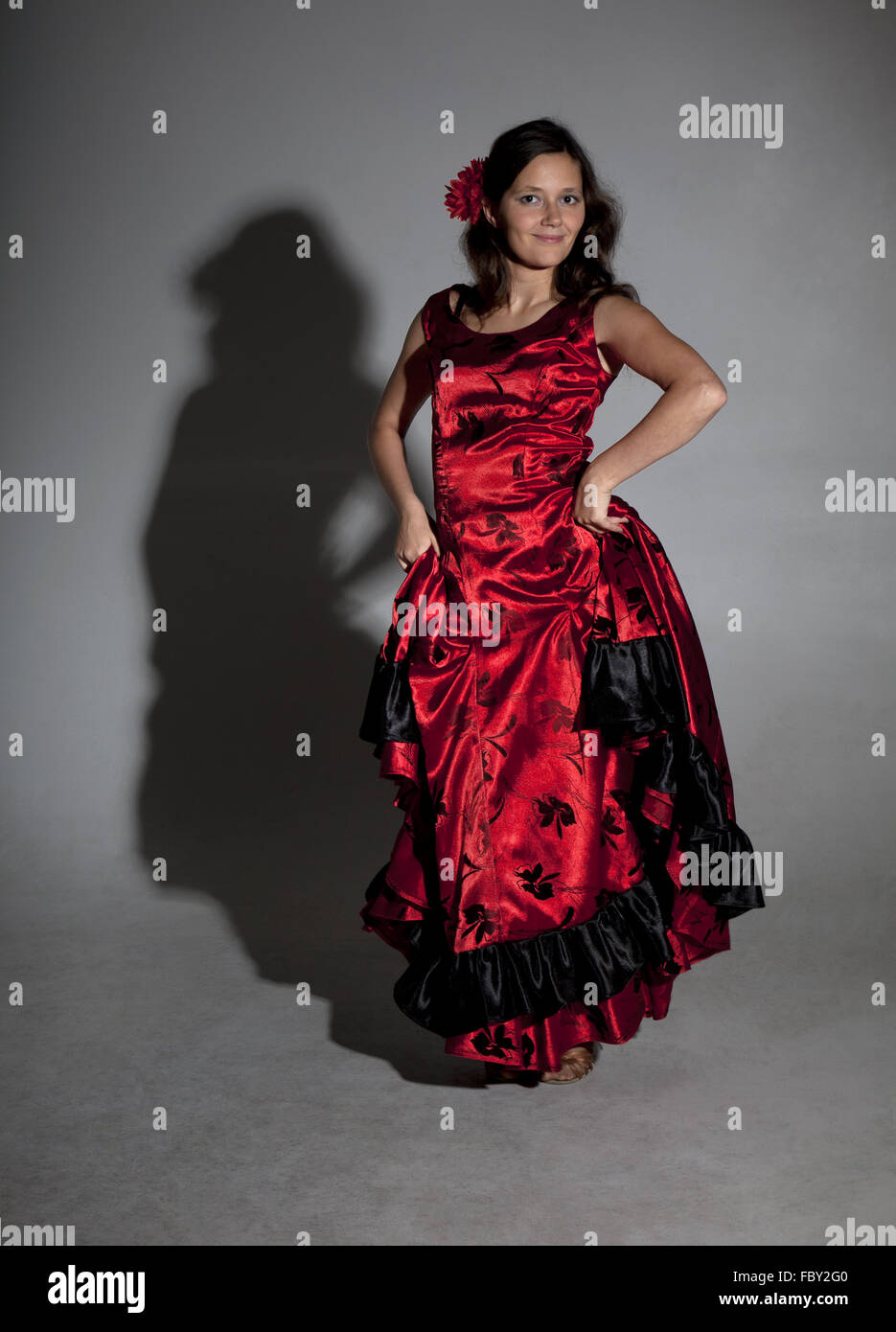Young woman dancing flamenco - Stock Image