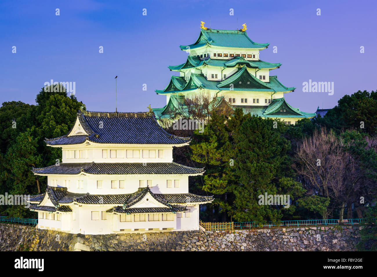 Nagoya, Japan castle towers. - Stock Image