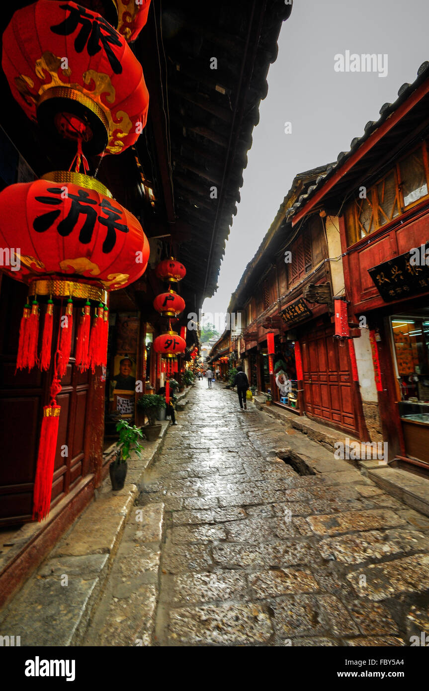 Lijiang China old town streets and buildings - Stock Image