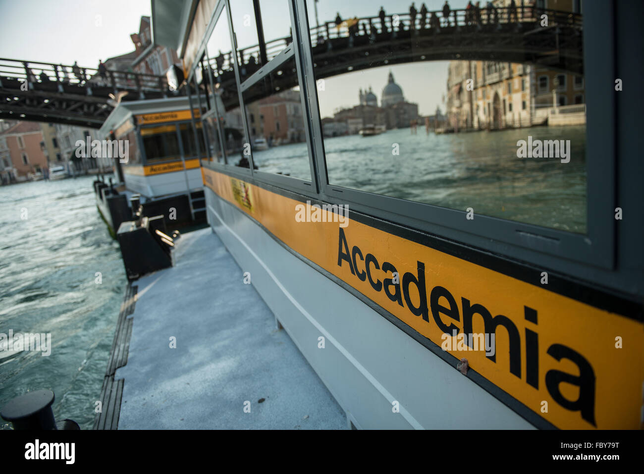 wharf of the vaporetto  at the Academia stop in the Grand Canal in Venice - Stock Image