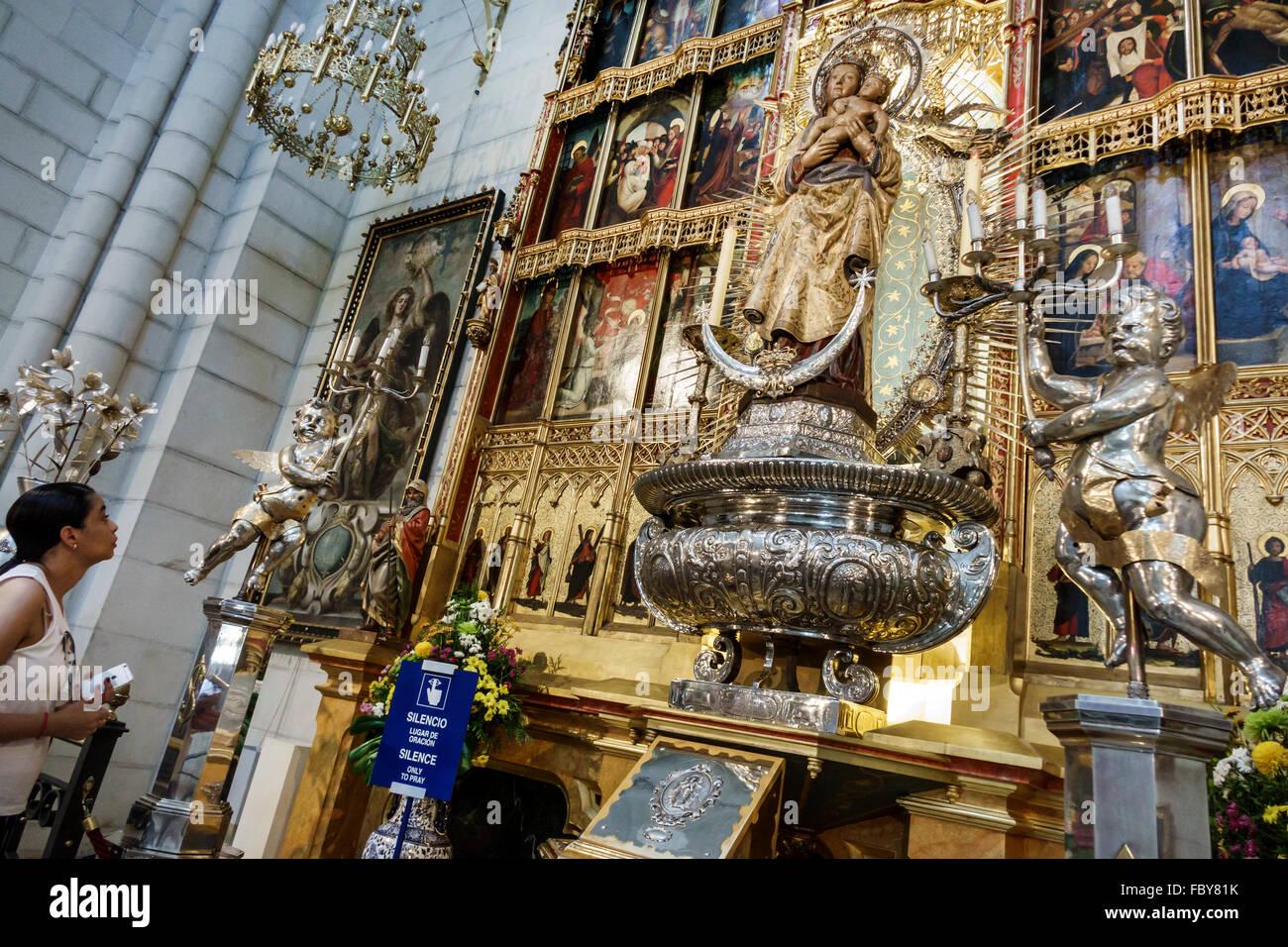 Madrid Spain Europe Spanish Hispanic Centro Catedral Santa Maria la Real de La Almudena consecrated cathedral Catholic - Stock Image