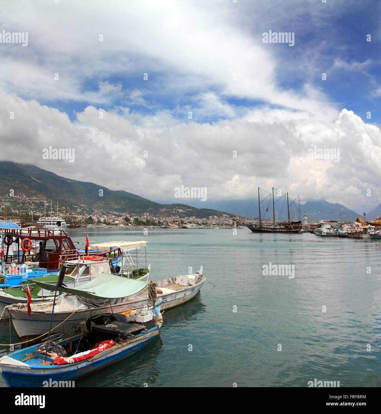 bay with boats in Alanya - Stock Image