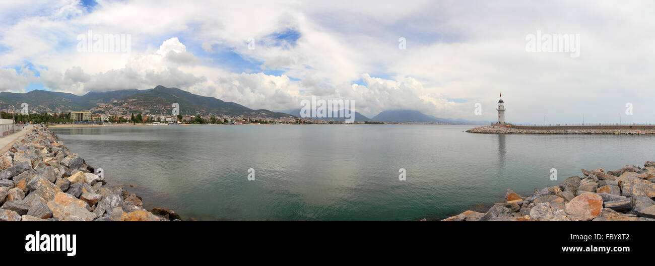 panorama of bay with lighthouse in Alanya - Stock Image