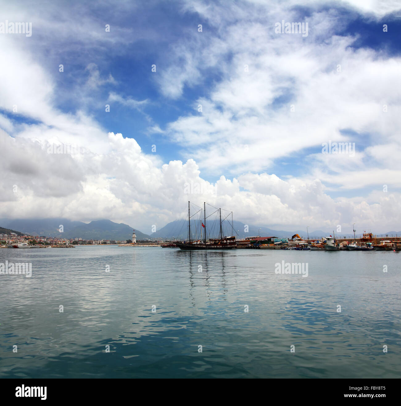 bay with boats and yachts in Alanya - Stock Image