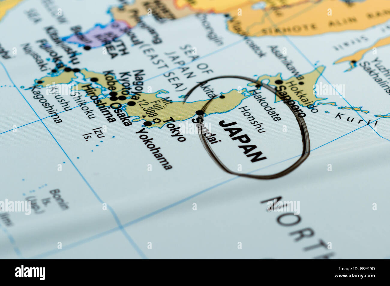 Picture of: Close Up Of The Country Of Japan On A World Map Stock Photo Alamy