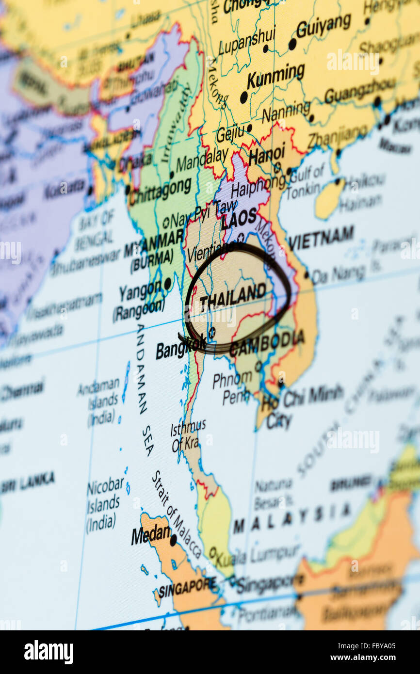 Asia pacific map stock photos asia pacific map stock images alamy close up of the country of thailand on a world map stock image gumiabroncs Gallery