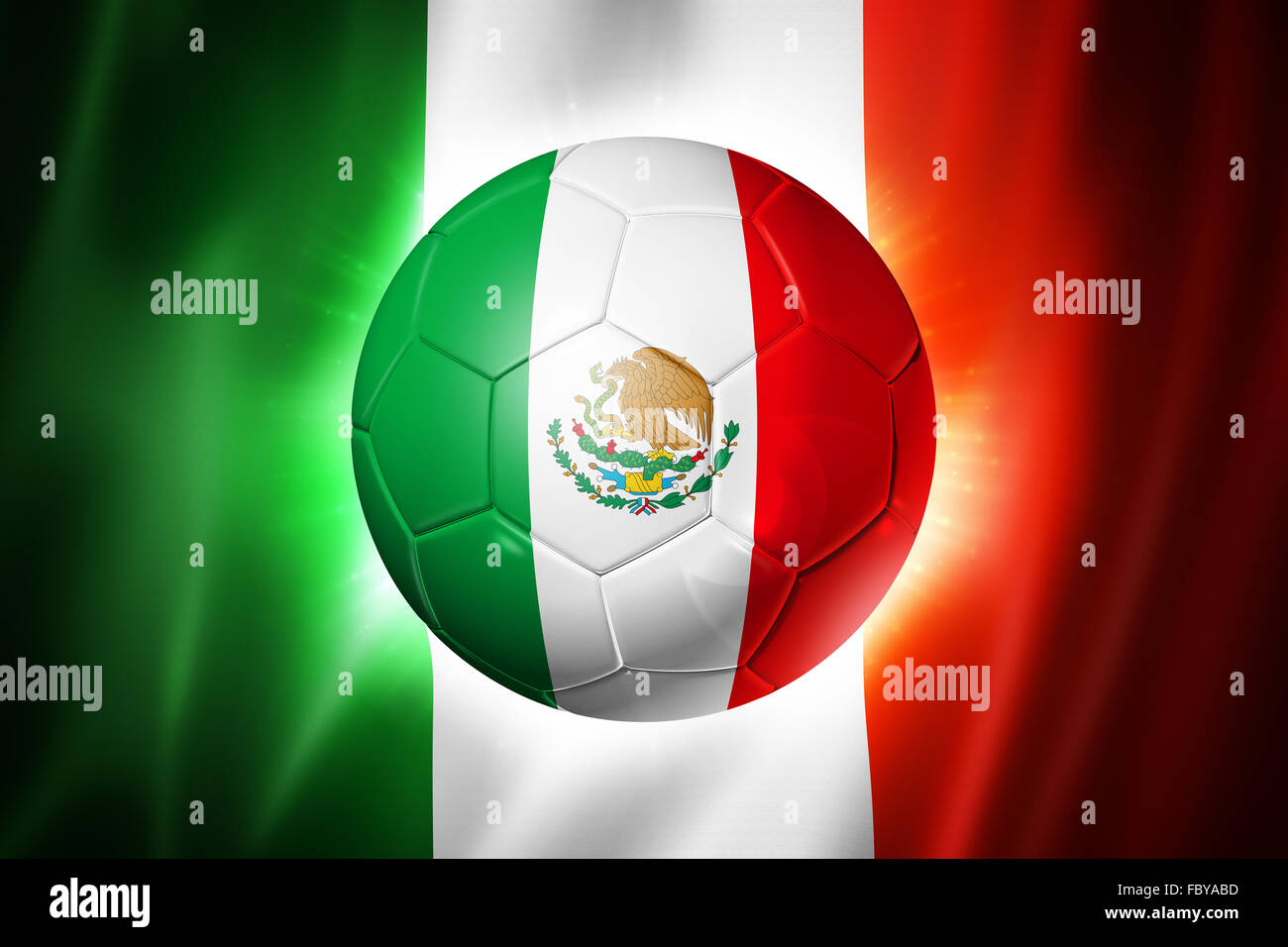 Soccer football ball with Mexico flag - Stock Image