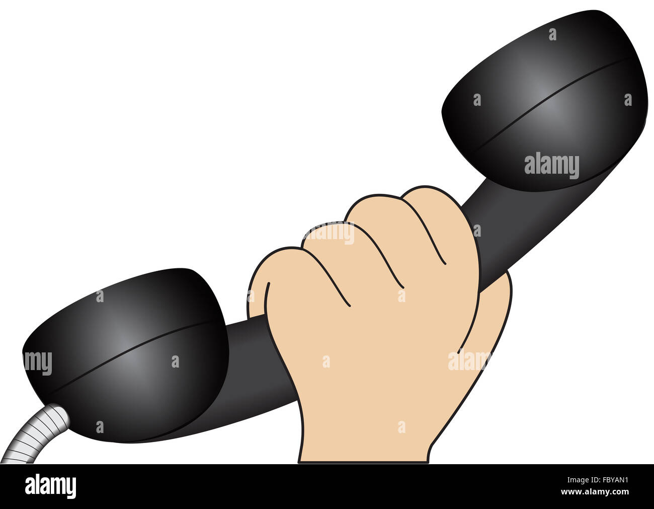 Hand with a telephone handset - Stock Image