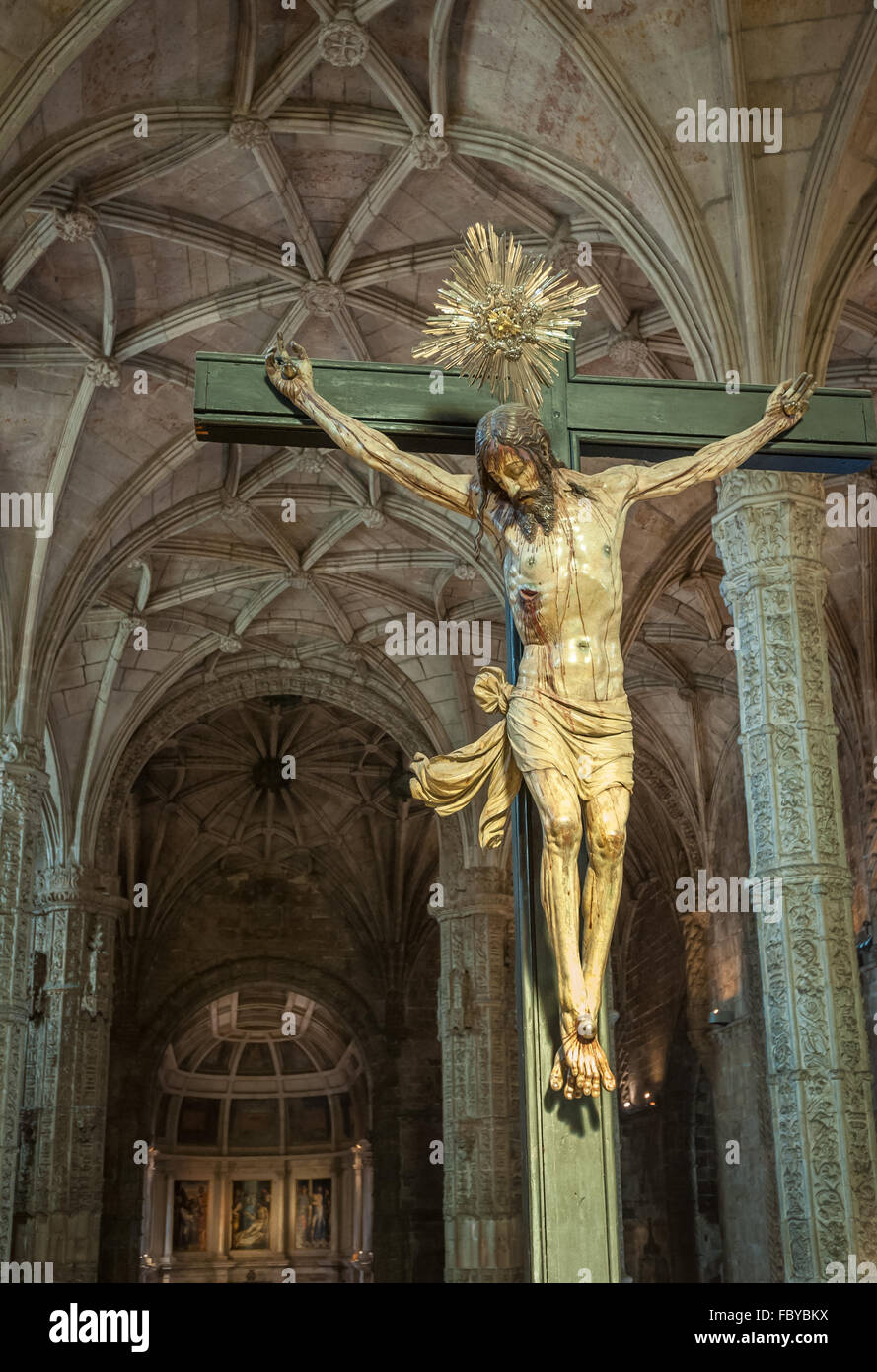 Christ Crucified sculpture in Jeronimos Monastery, Lisbon, Portugal - Stock Image