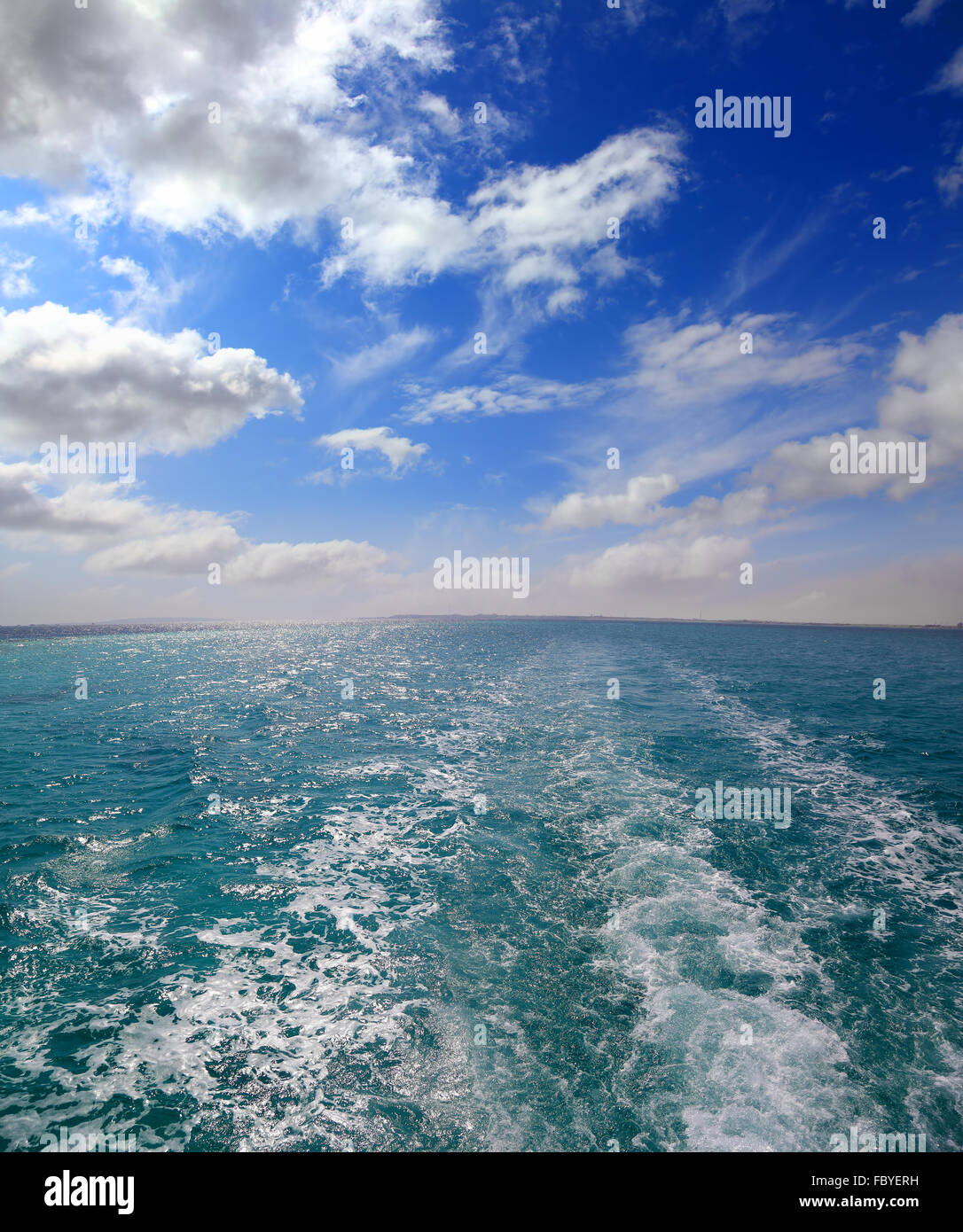 trace of ship - shooting from boat - Stock Image