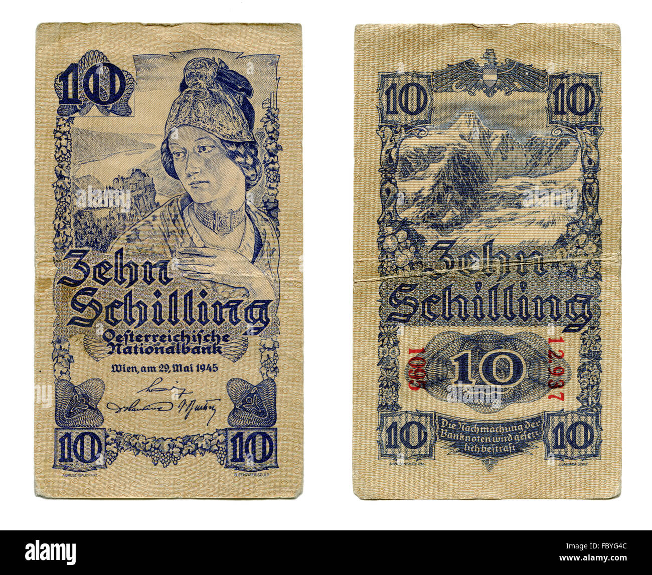 austrian ten shillings banknote from 1945 - Stock Image