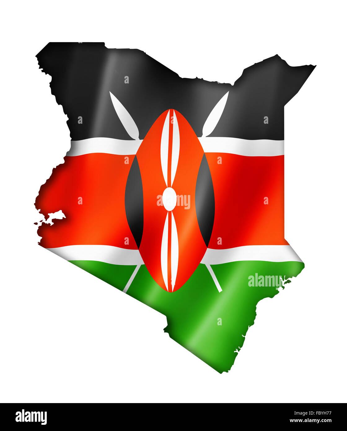 Kenyan flag map Stock Photo