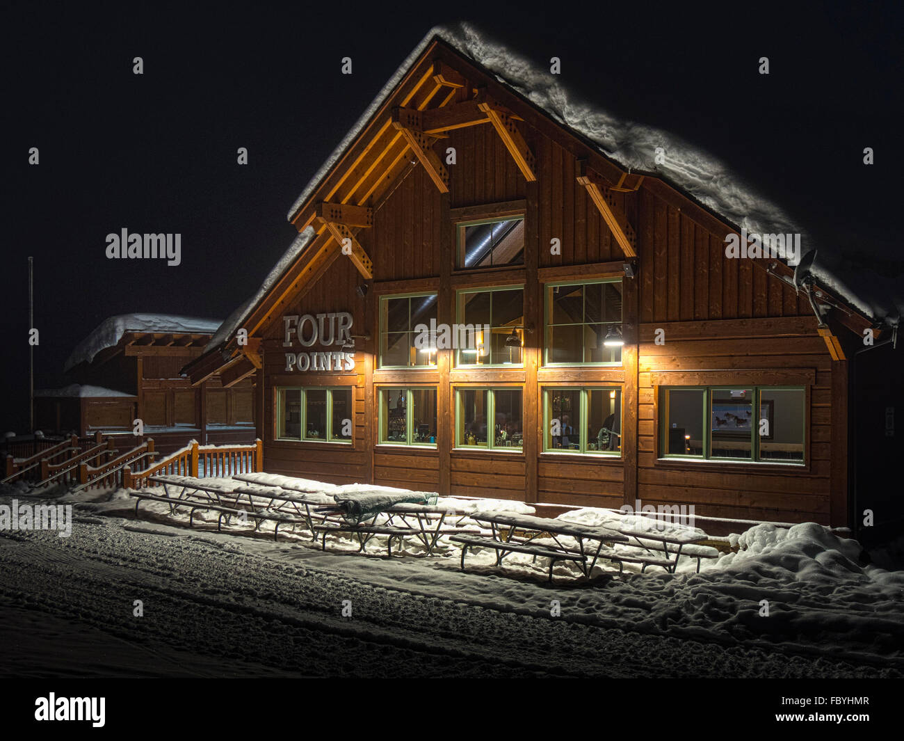 Outside Four Points Lodge for evening dinners, Steamboat Ski Resort Steamboat Springs, Colorado. - Stock Image
