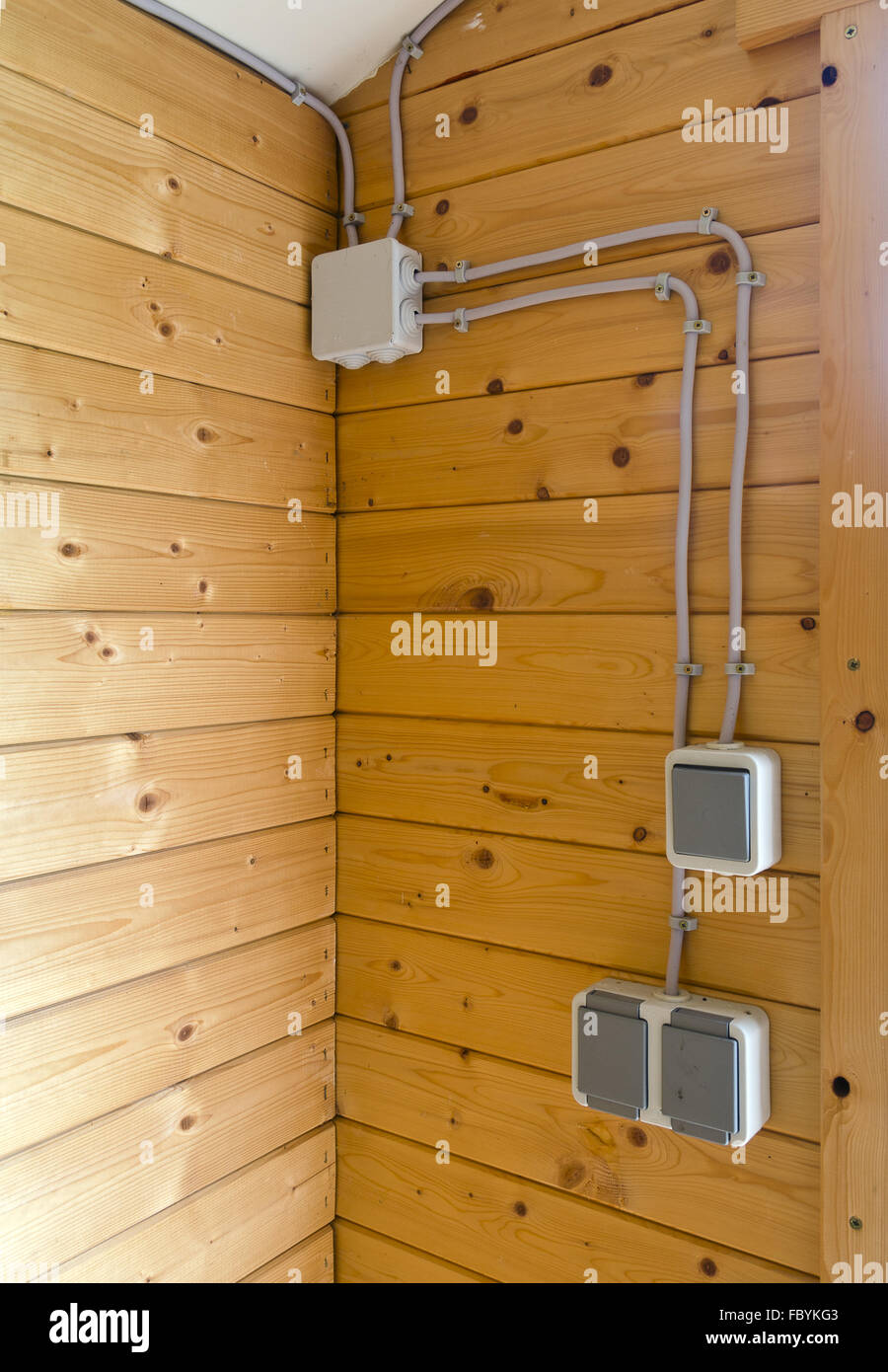 Electrical Installation In A Wooden House Stock Photo 93421107 Alamy Wiring