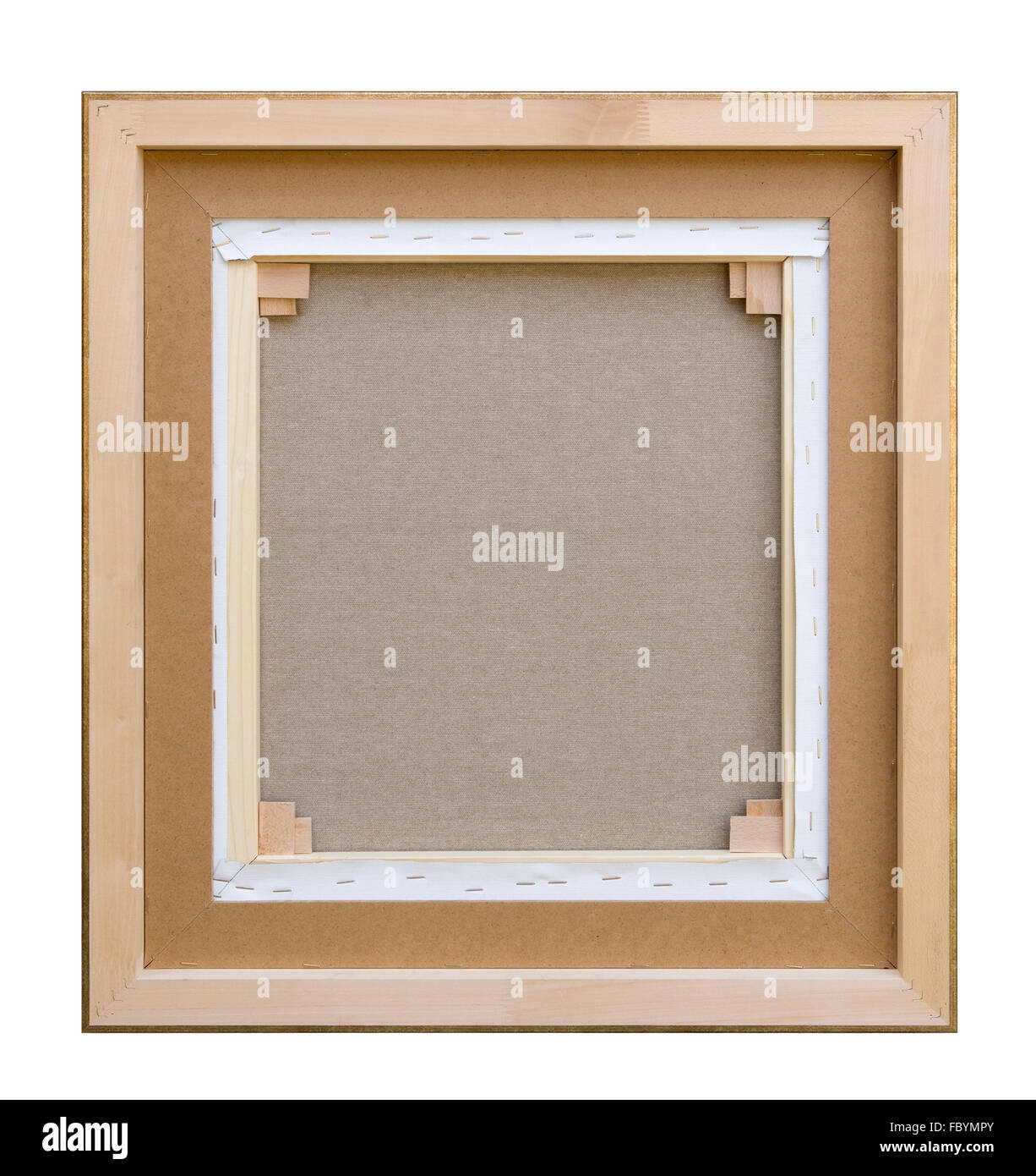 Gallery wrapped blank back view canvas in wooden frame construction ...