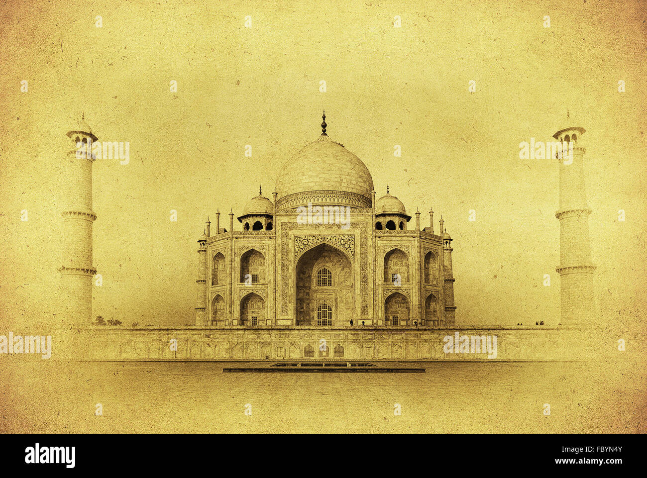 Vintage image of Taj Mahal at sunrise, Agra, India - Stock Image