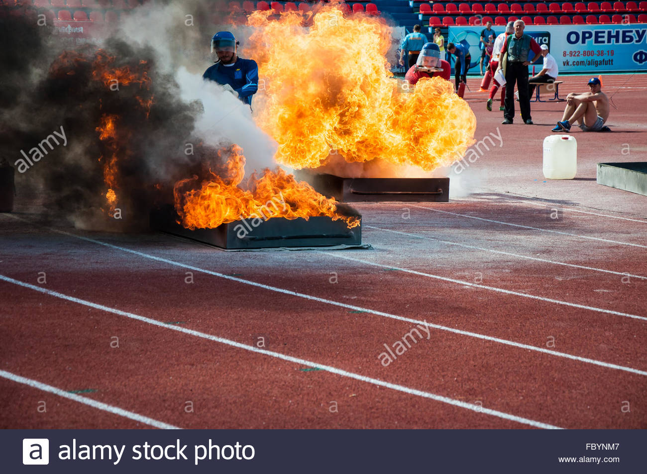 Fire relay race - Stock Image