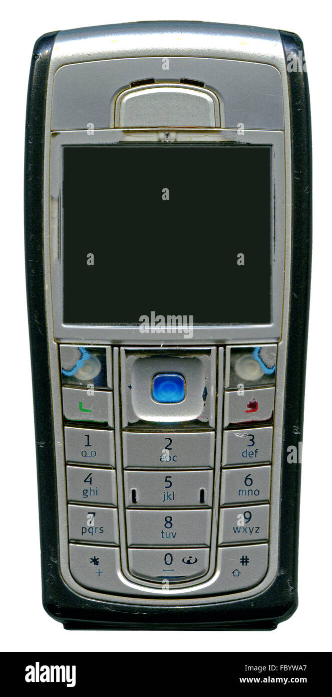 old mobile phone with worn-out keys - Stock Image