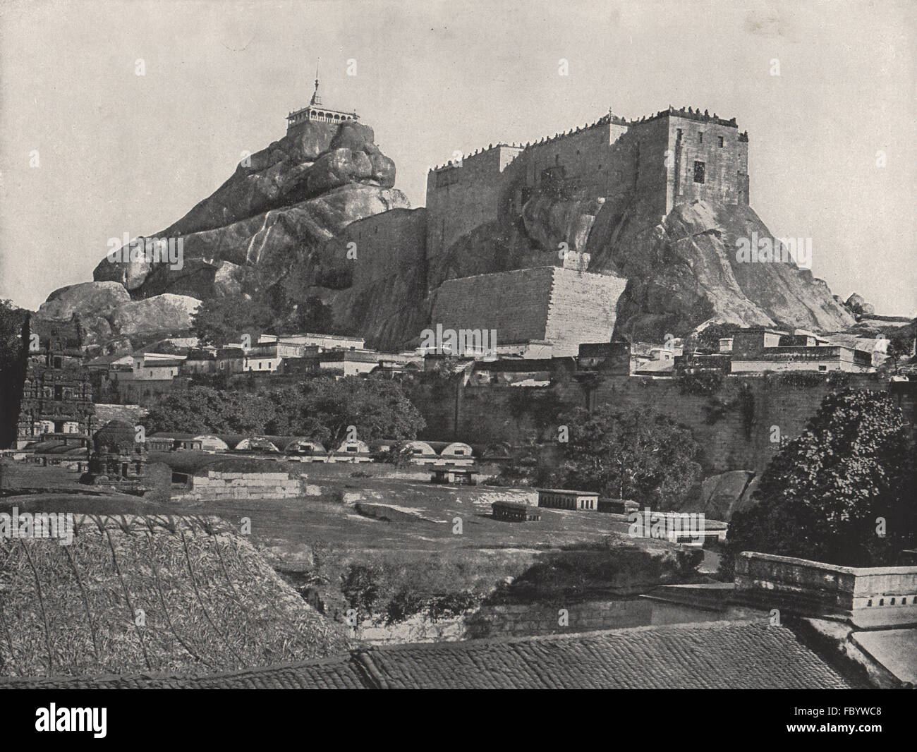 THIRUCHCHIRAPALLI. The rock, seen from the north. India, antique print 1895 - Stock Image