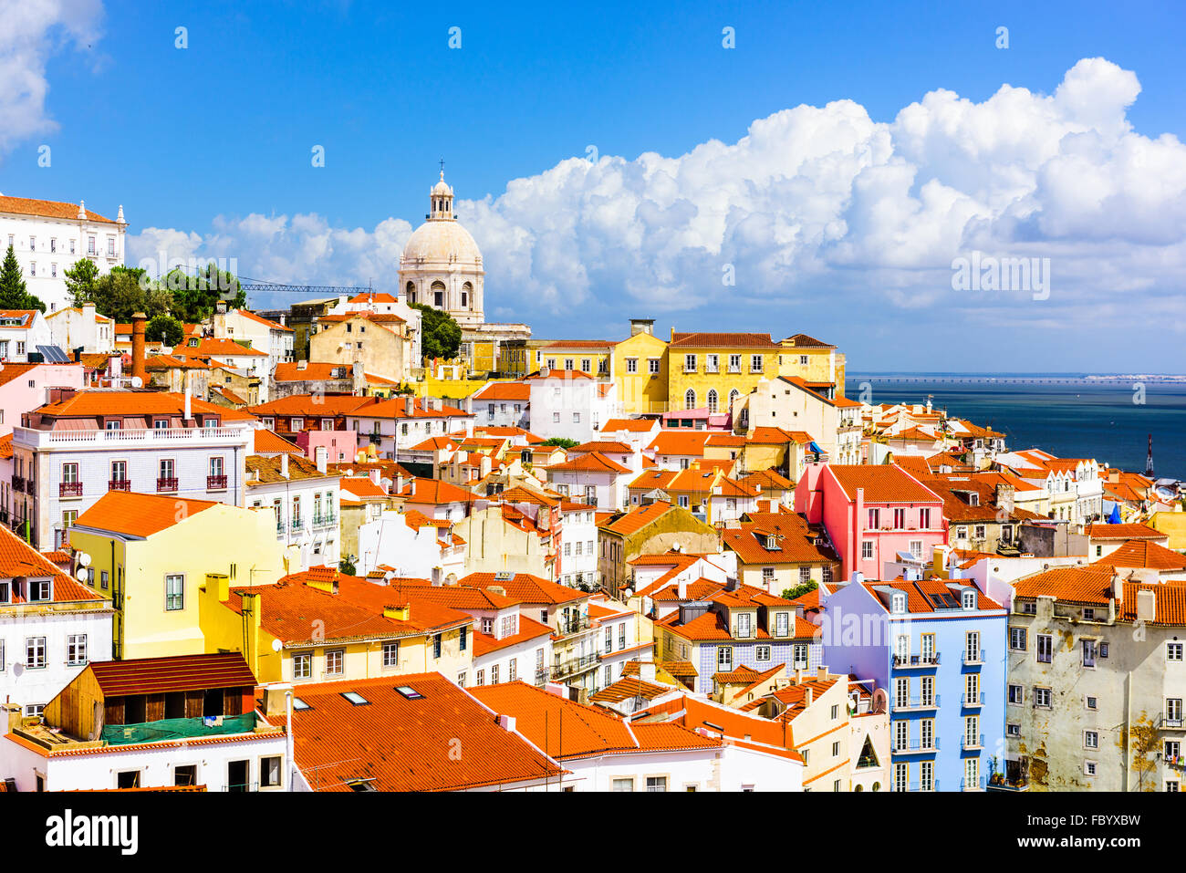 Lisbon, Portugal town skyline at the Alfama. - Stock Image