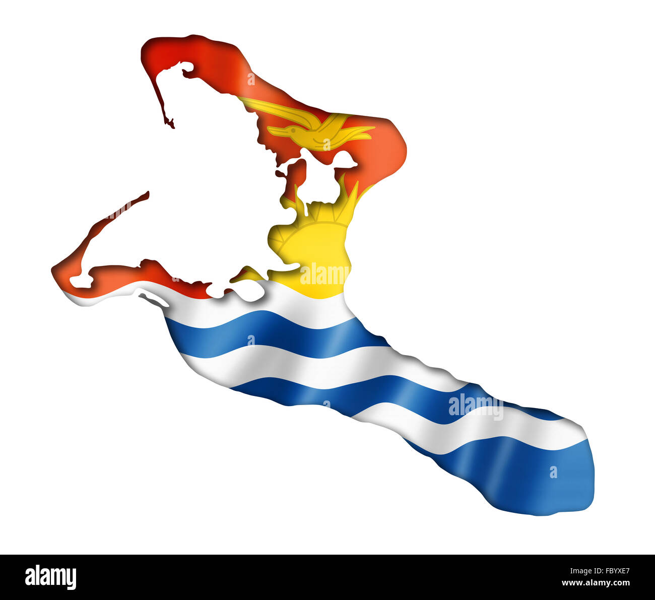 Kiribati flag map - Stock Image