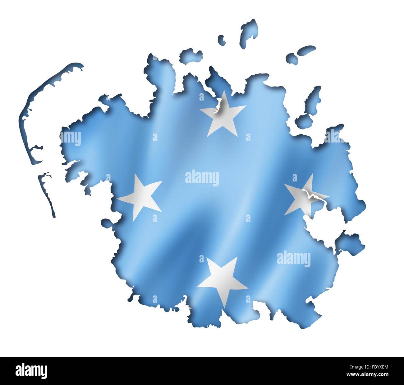 Micronesian flag map - Stock Image