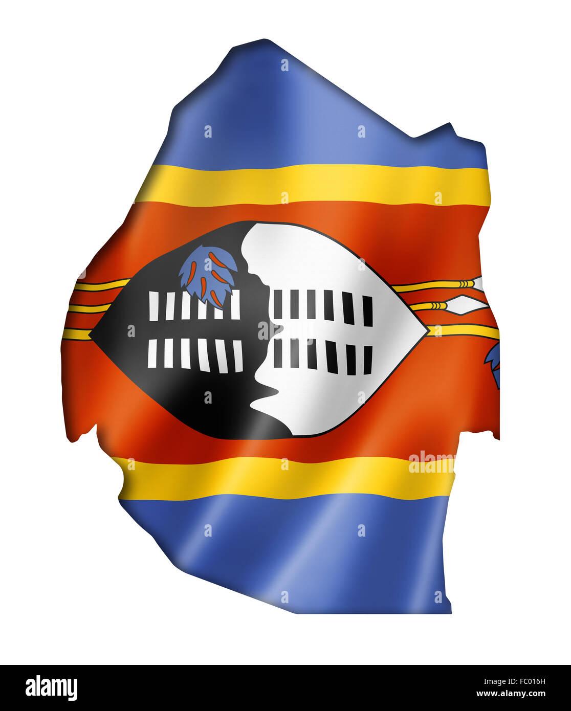 Swaziland flag map Stock Photo