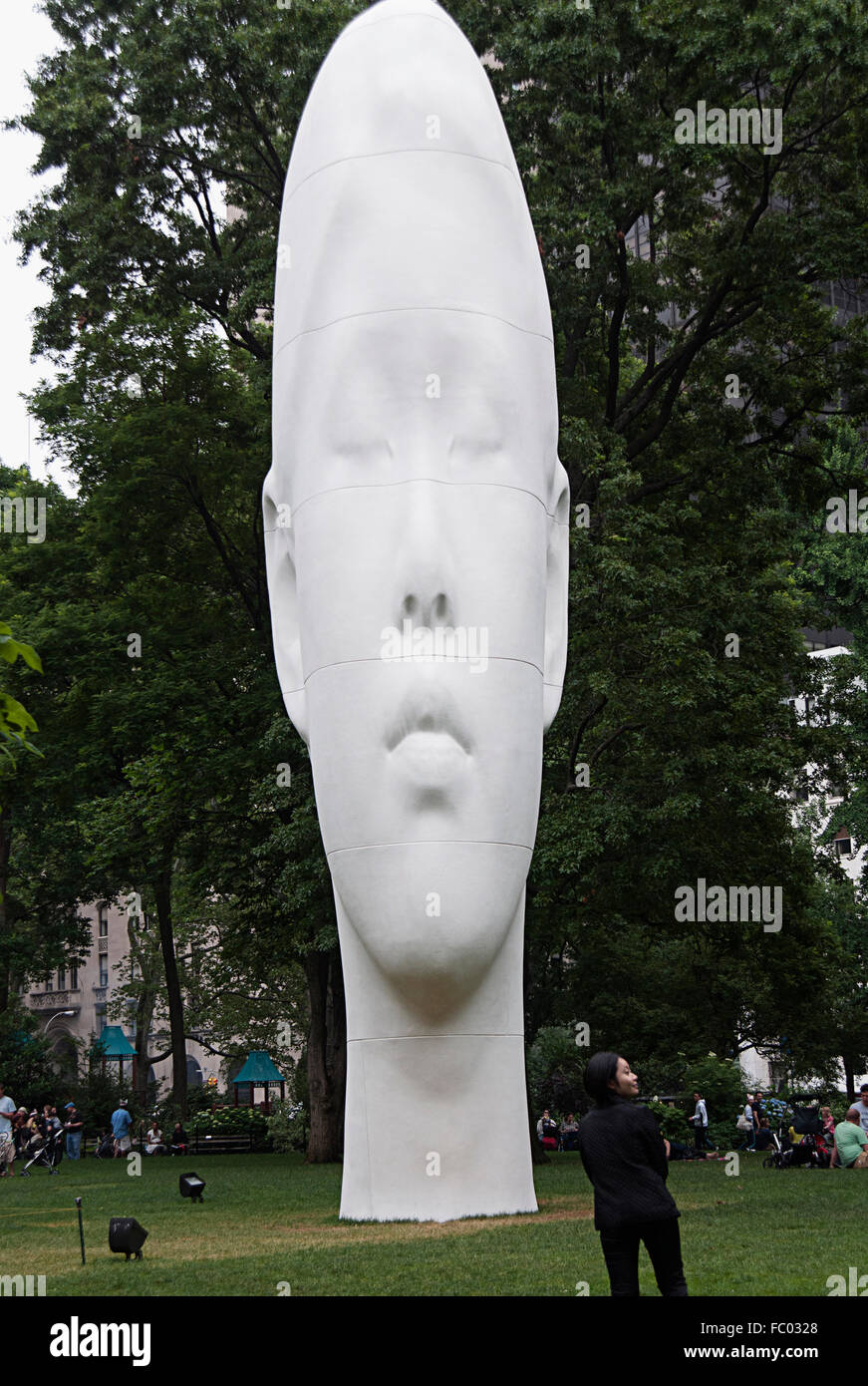 Sculpture by Jaume Plensa called Echo in Madison Park, NYC, June 2011 - Stock Image