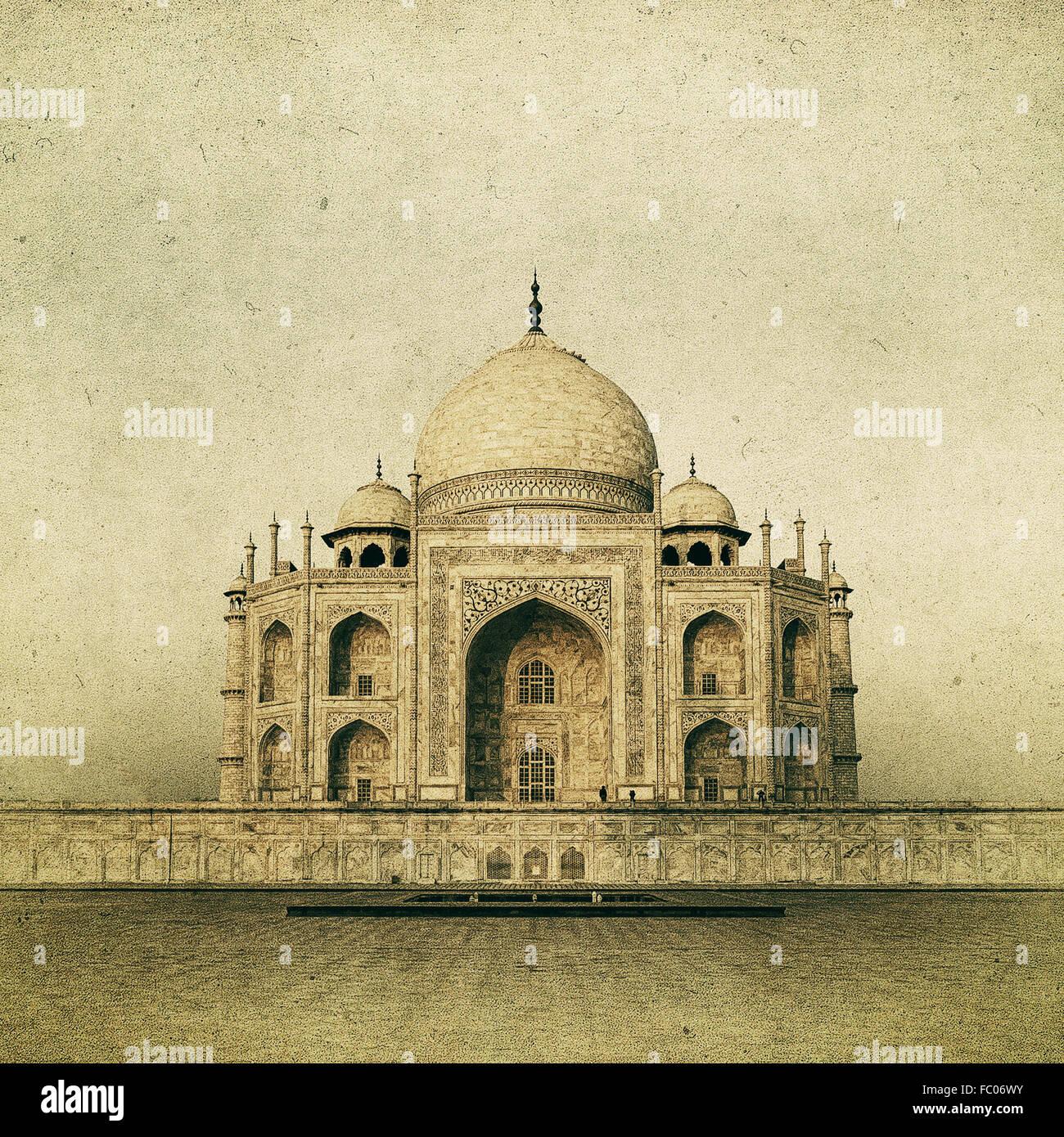 Vintage image of Taj Mahal at sunrise, Agra, India - Stock Image