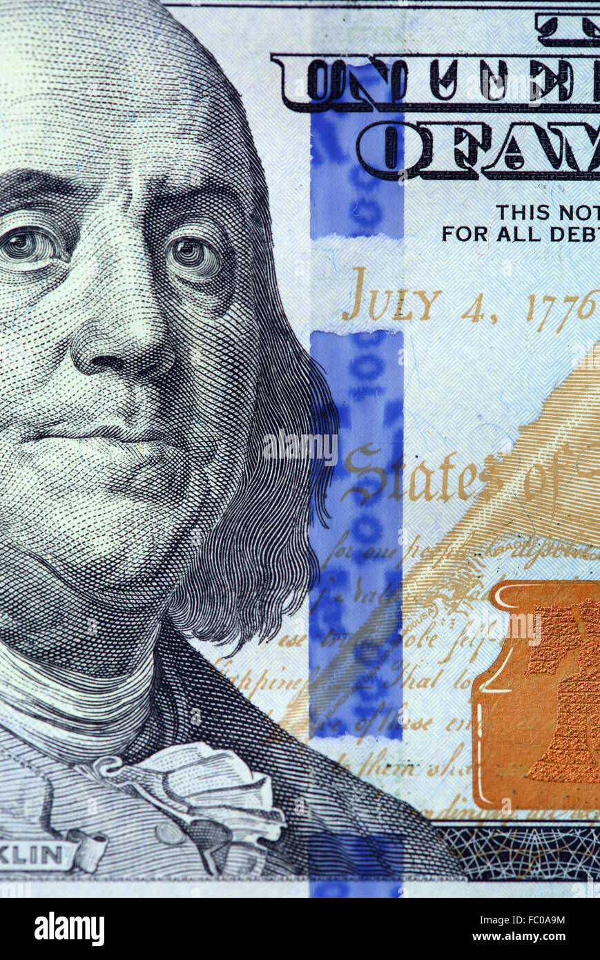 Details of new hundred dollar bill - Stock Image