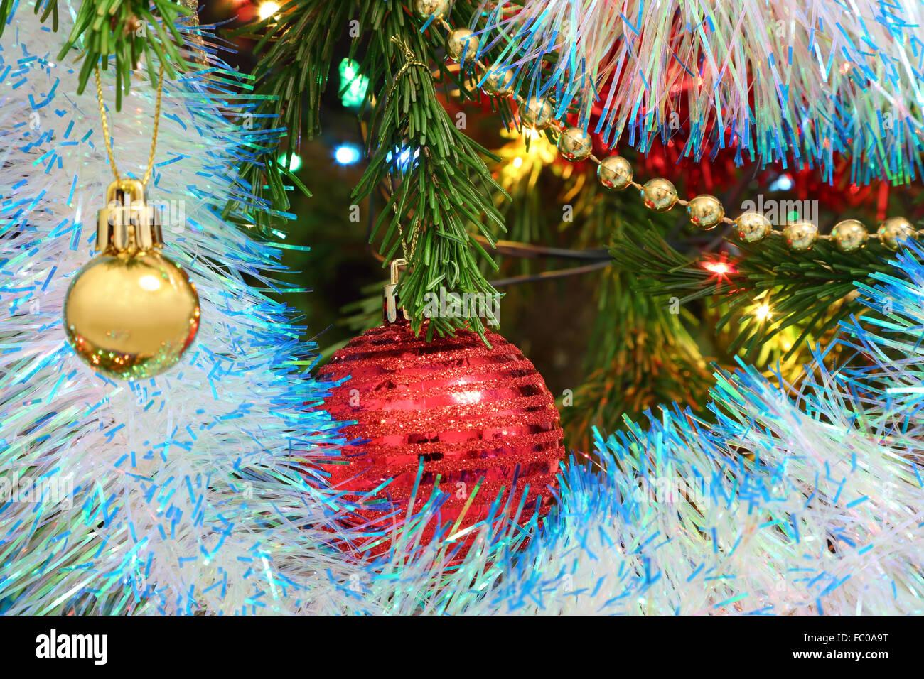 Christmas decorations on fir - Stock Image