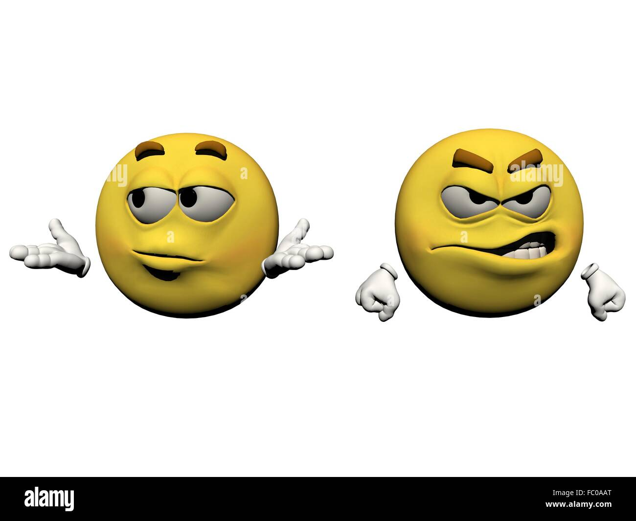 angry and perplexed emoticons  - 3d render - Stock Image