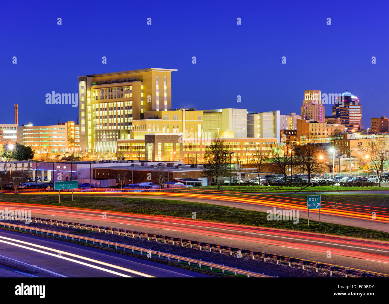 Durham, North Carolina, USA downtown city skyline. - Stock Image