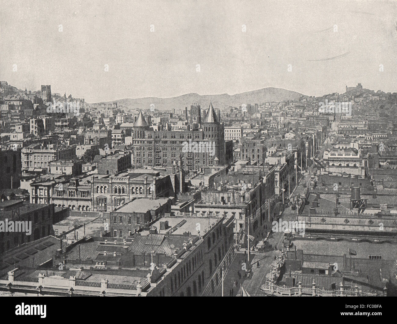 SAN FRANCISCO. Bird's-eye view from the Chronicle Building. California, 1895 - Stock Image