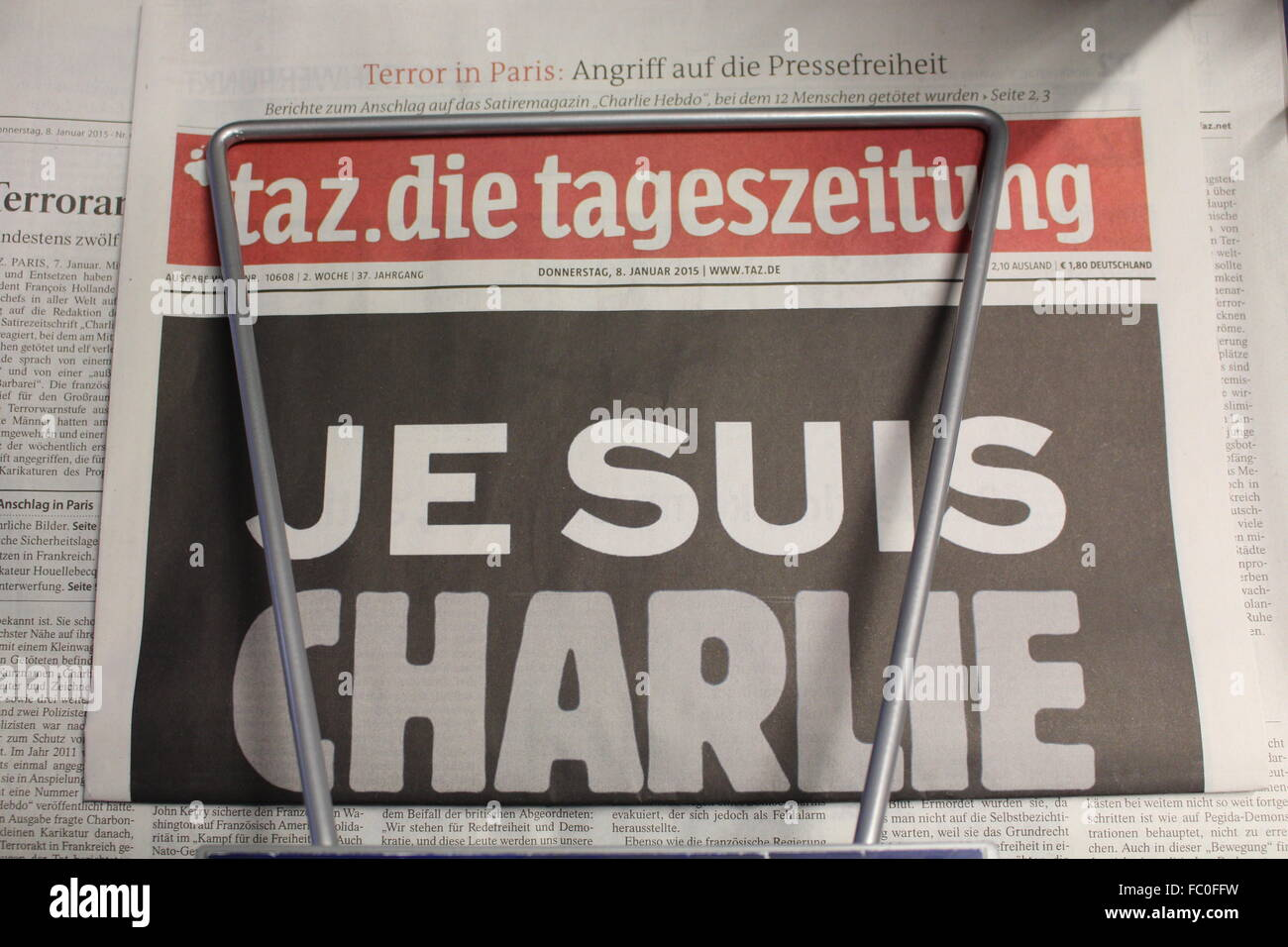 headline of the German newspaper 'die tageszeitung' : Je suis Charlie, after the terror attack in Paris - Stock Image