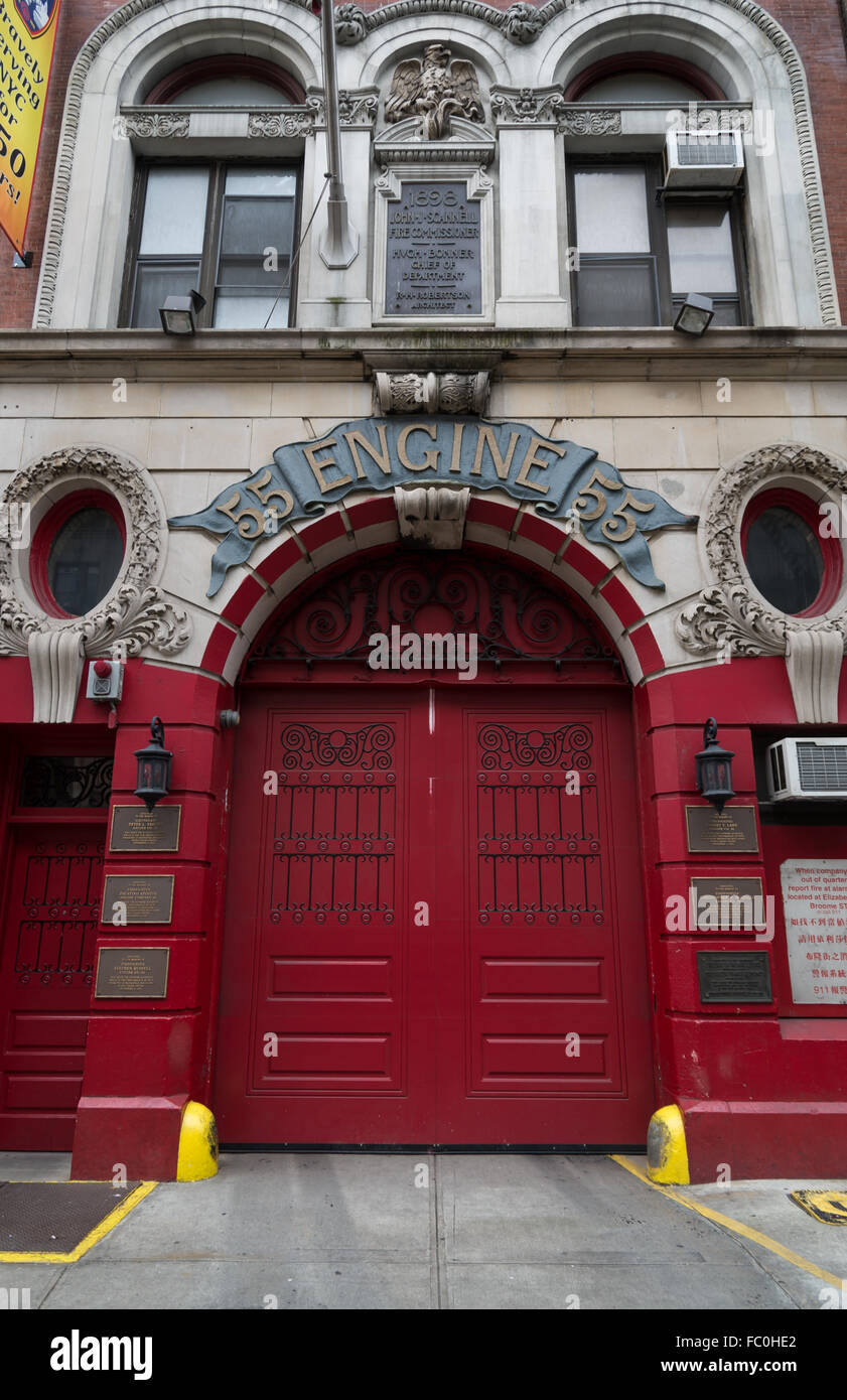 Engine 55 fire station on Broome Street with ornate signage, plasterwork, and cast iron detail to doors. New York - Stock Image